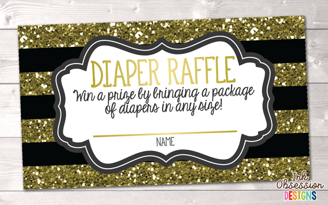 Gold Stripes and Black Printable Diaper Raffle Ticket