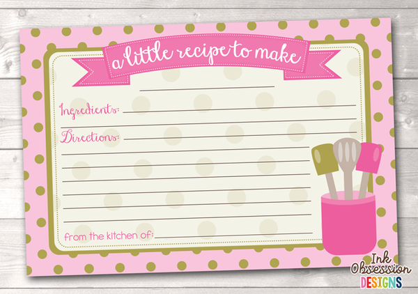 Pink Polka Dots Printable Recipe Cards