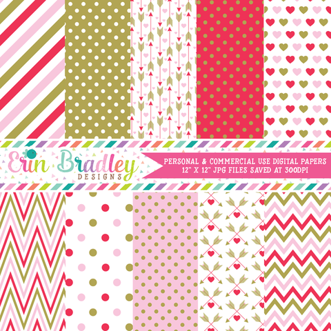 Red Pink Gold Valentines Day Digital Papers
