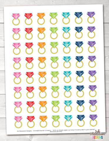 Gold Rings Printable Planner Stickers