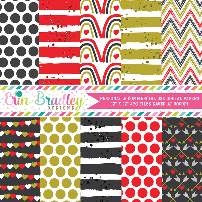 Golden Valentines Day Digital Paper Pack