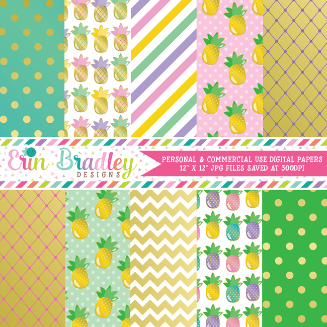 Golden Pineapples Digital Paper Pack