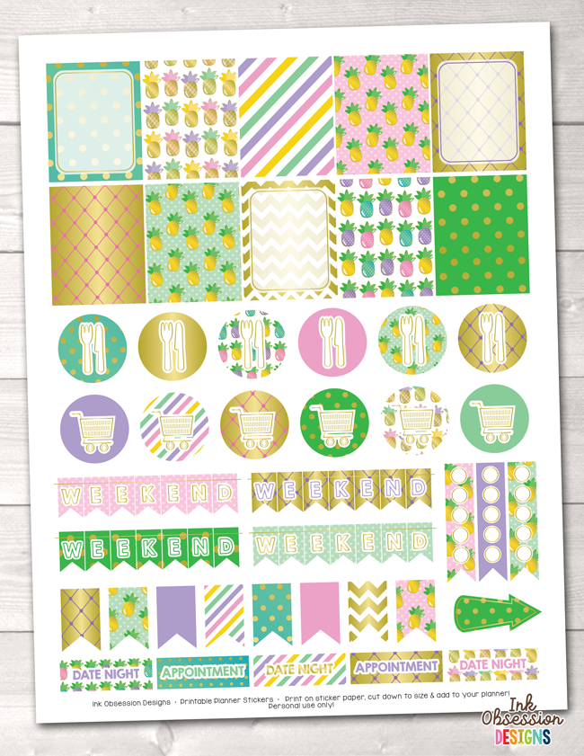 Golden Pineapples Printable Planner Stickers Weekly Kit
