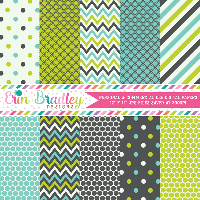 Lime Charcoal and Blue Digital Papers