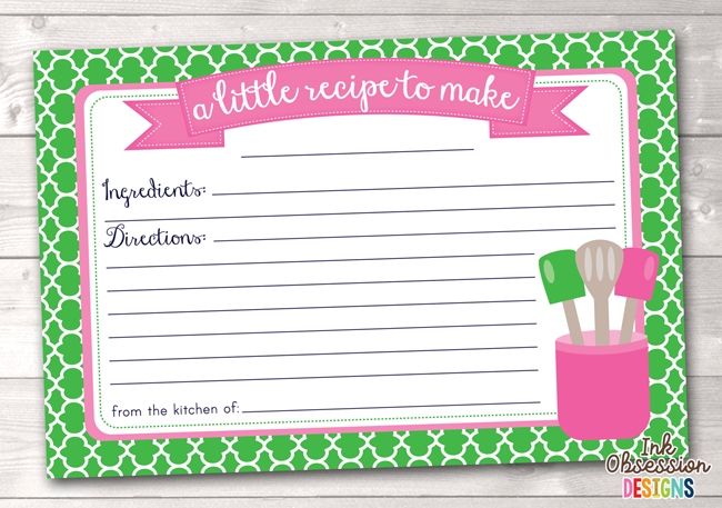 Green Quatrefoil Printable Recipe Cards