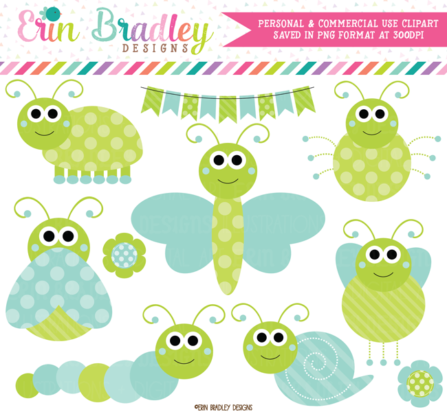 Blue and Green Cute Bugs Clipart