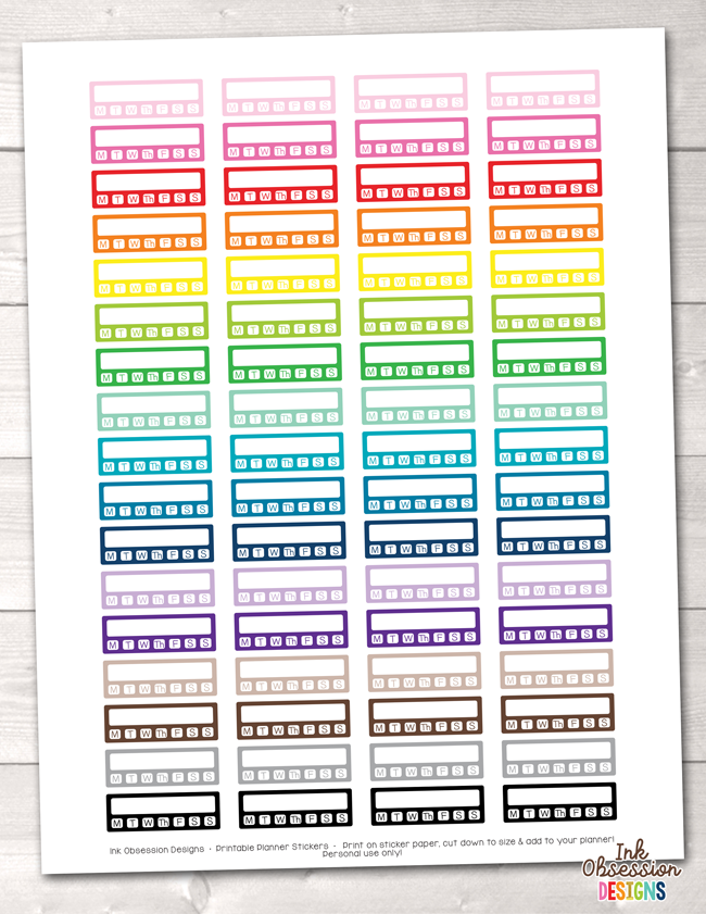 Habit Tracker With Days Printable Planner Stickers Erin Bradley Ink Obsession Designs