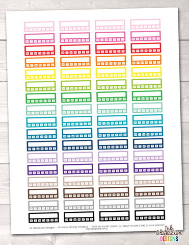 Habit Tracker with Days Printable Planner Stickers