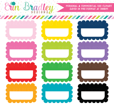 Scalloped Half Boxes Clipart