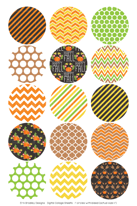 Happy Fall Digital Bottle Cap Images
