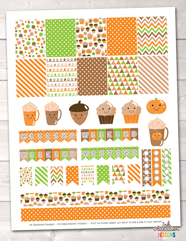 Happy Fall Printable Planner Stickers Weekly Kit