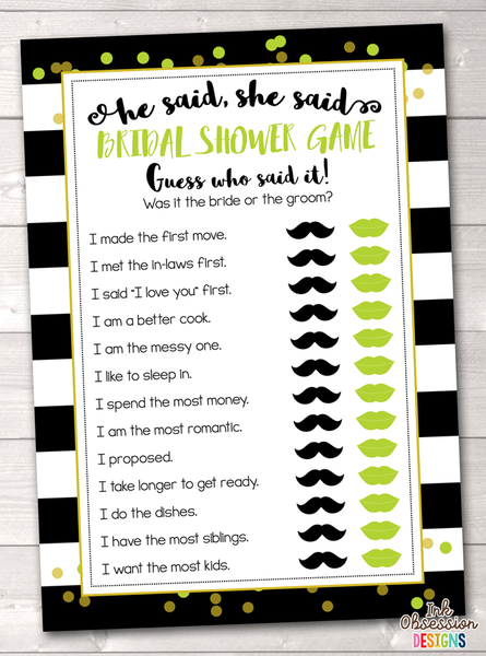 Black Stripes and Lime Green He Said She Said Bridal Shower Game