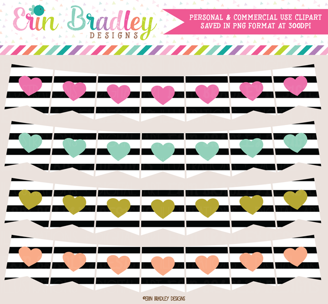 Heart Banners Clipart with Black Stripes