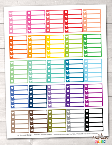 Heart Checklist Boxes Printable Planner Stickers