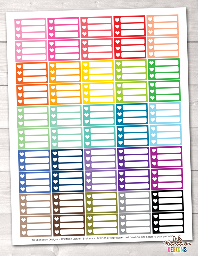 Heart Checklist Boxes Small Printable Planner Stickers