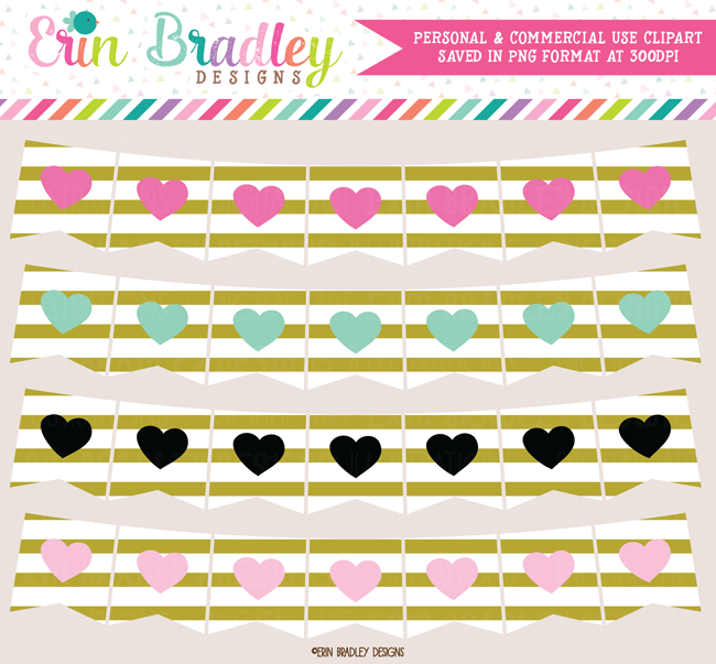 Heart Banners Clipart with Gold Stripes