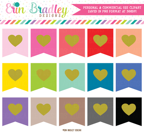 Heart Flag Clipart Graphics