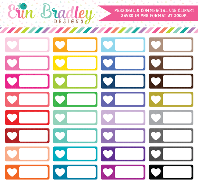 Heart Rectangle Boxes Clipart