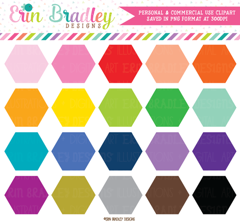 Hexagon Clipart Graphics Personal & Commercial Use