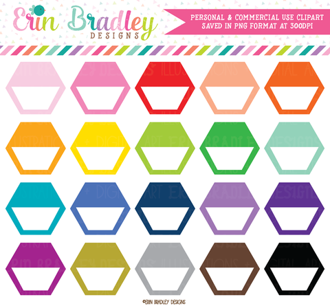 Hexagon Half Boxes Clipart