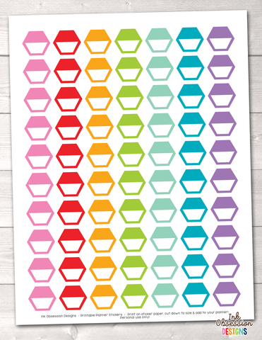Hexagon Half Boxes Printable Planner Stickers