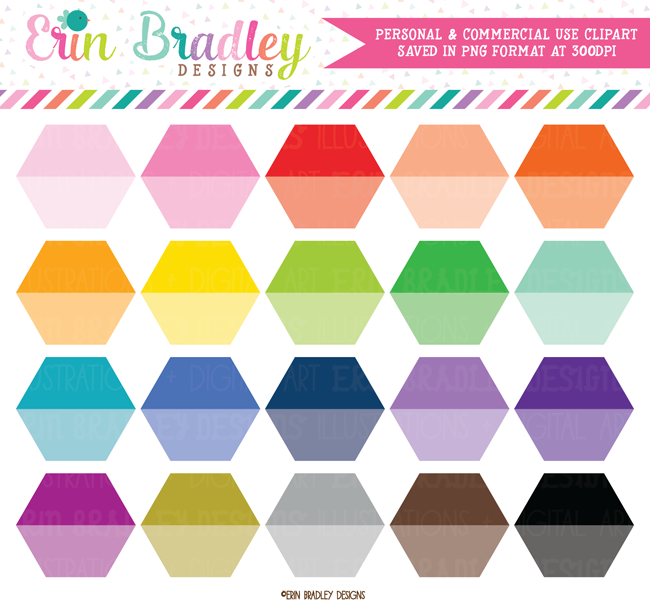 Ombre Hexagon Clipart Shapes Commercial Use Graphics