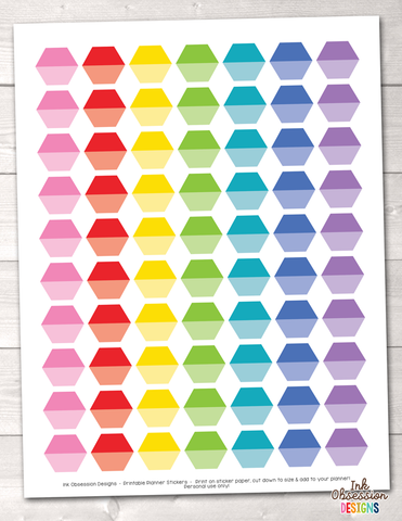 Ombre Hexagons Printable Planner Stickers