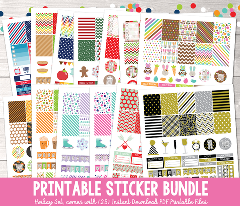 Instant Download Printable Holiday Planner Sticker Bundle