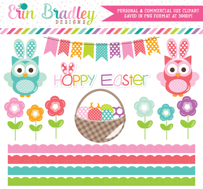 Hoppy Easter Owls Commercial Use Clipart