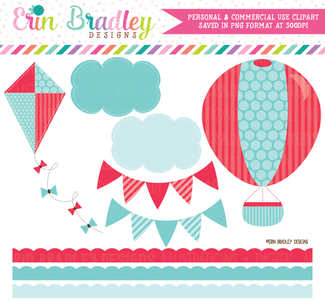 Hot Air Balloon Clipart in Red and Blue