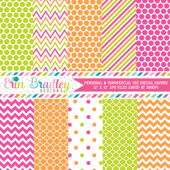 Hot Pink Lime Green Orange Digital Paper Pack