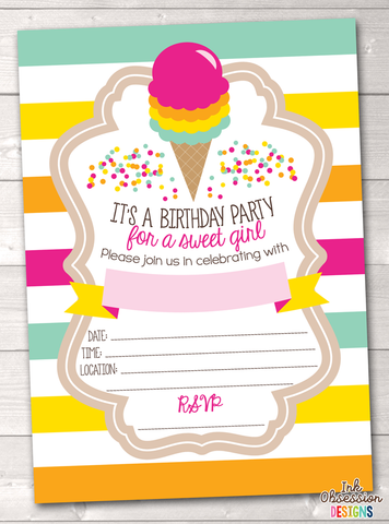 Ice Cream Cone Printable Birthday Party Invitation