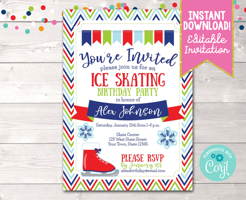 Editable Ice Skating Birthday Party Invitation Blue Red Instant Download Digital File