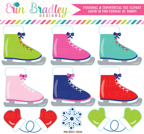 Colorful Ice Skates Commercial Use Clipart