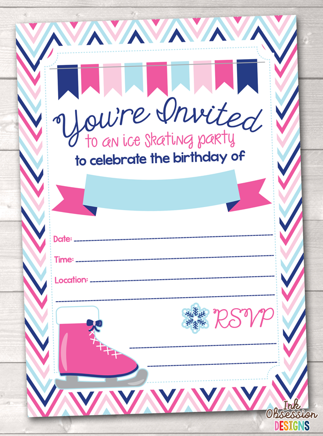 Pink Ice Skating Party Printable Birthday Party Invitation Erin