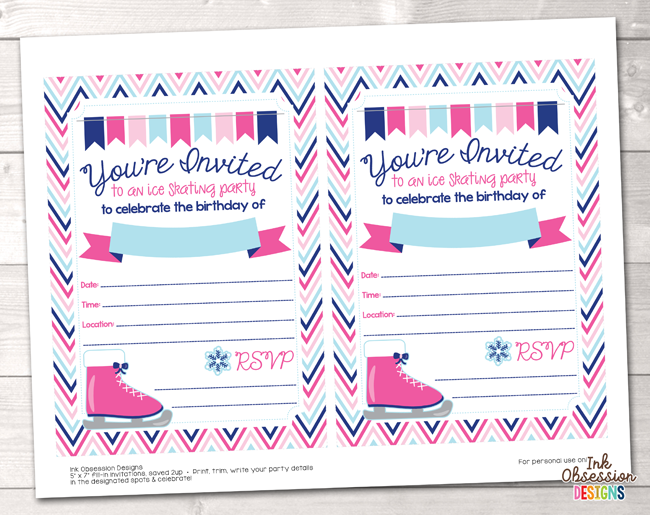 photo regarding Birthday Party Invitations Printable referred to as Red Ice Skating Bash Printable Birthday Social gathering Invitation
