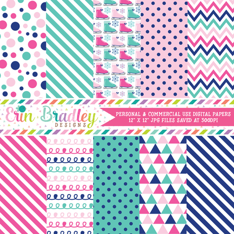 Ice Skating Pink Blue Digital Papers