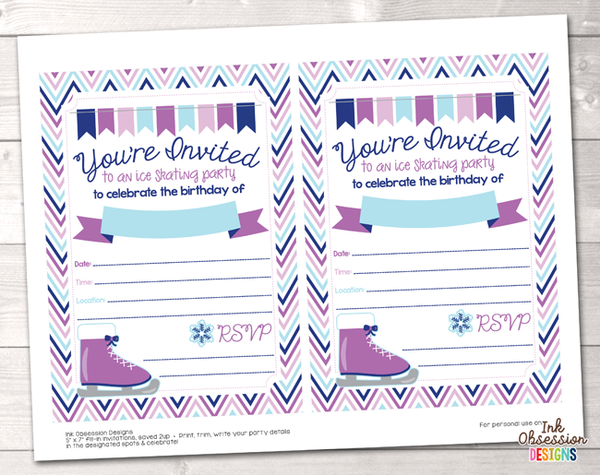 Purple Ice Skating Party Printable Birthday Party Invitation