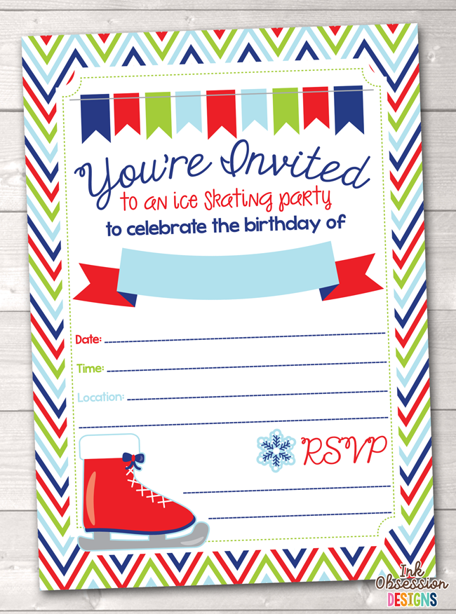 Ice Skating Party Printable Birthday Party Invitation