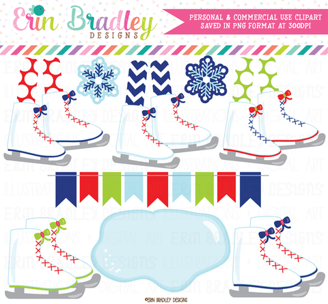 Ice Skating Party Clipart