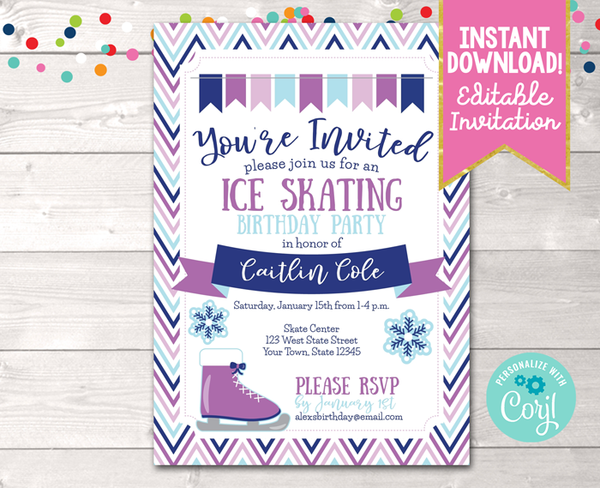 Editable Ice Skating Birthday Party Invitation Purple Instant Download Digital File