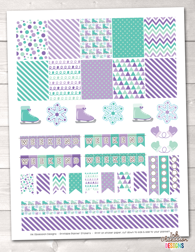 Purple Ice Skating Printable Planner Stickers Weekly Kit