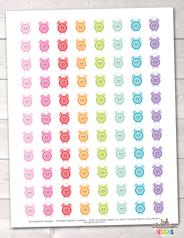 Kawaii Clocks Printable Planner Stickers
