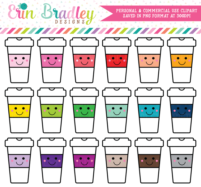 Kawaii Coffee Cups Clipart
