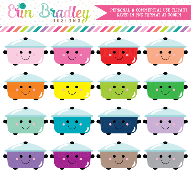 Kawaii Cooking Pots Clipart