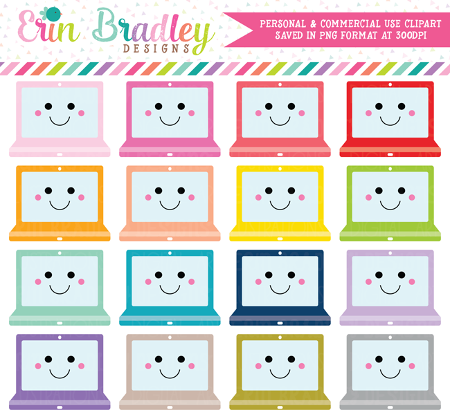 Kawaii Computer Laptops Clipart