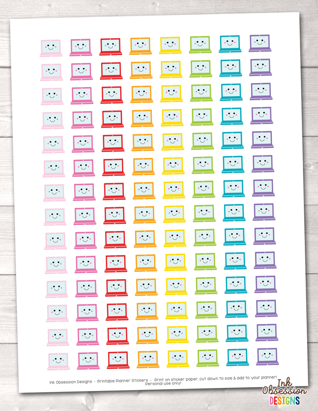 graphic about Printable Stickers identified as Kawaii Laptops Printable Planner Stickers