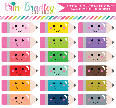 Kawaii Pencils Clipart