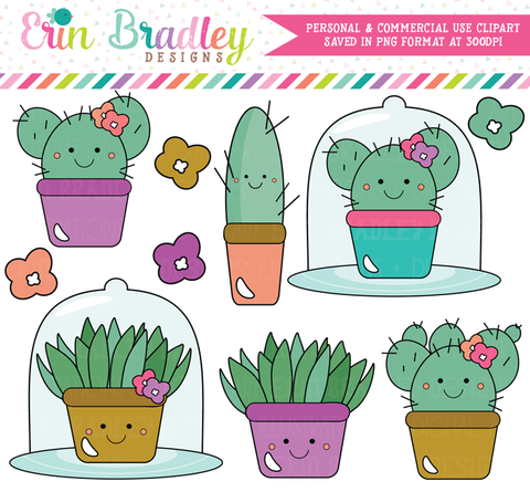 Kawaii Succulents Clipart