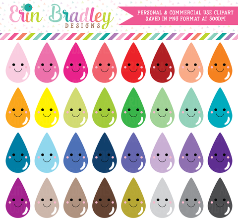 Kawaii Teardrops Clipart